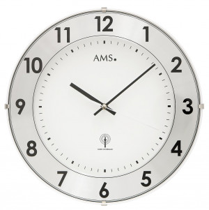 AMS radio-controlled wall clock with aluminum number ring