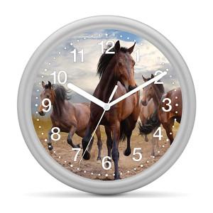 Kinderwanduhr Pferd - 3 braune Pferde