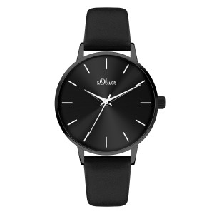 s.Oliver SO-4107-LQ synthetic leather black 16mm
