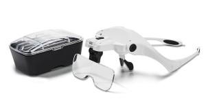 LED-Lupenbrille mit 5 Aufästzen