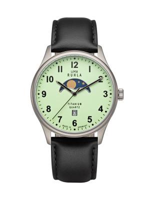 Uhren Manufaktur Ruhla - Mondphase-Uhr - Titan - Leuchtzifferblatt - Lederband - made in Germany