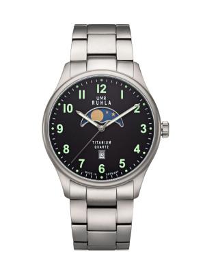 Uhren Manufaktur Ruhla - Mondphase-Uhr - Titan - Leuchtzahlen - Titanband - made in Germany