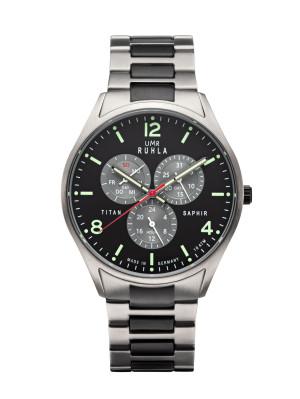 Uhren Manufaktur Ruhla - Armbanduhr schwebende Sekunde - schwarz - Titanarmband - made in Germany