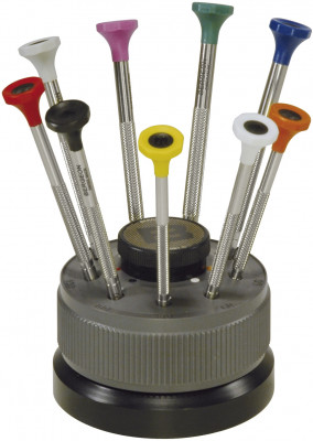 Screwdriver assortment, 9 pieces with steel shaft on revolving base and stainless steel blade