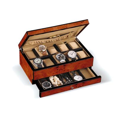 Uhrenbox im Ulmenholz-Design für 10 Uhren