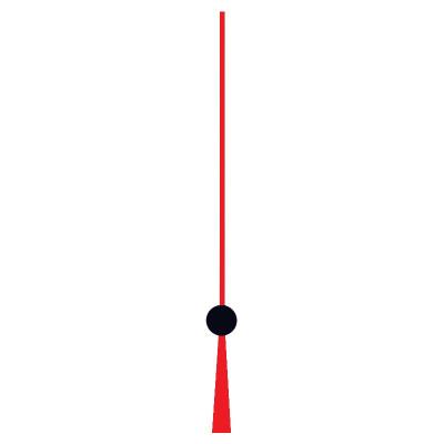 Trotteuse pour mouvements de pile, fil rouge/noir, L. d'aiguille: 100mm