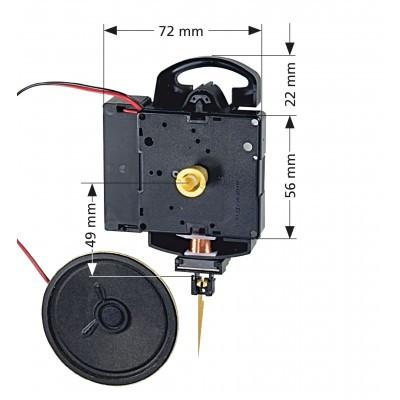 Quartz pendulum clock movement Hermle 2214, HSL 15mm, Westminster or Bim Bam