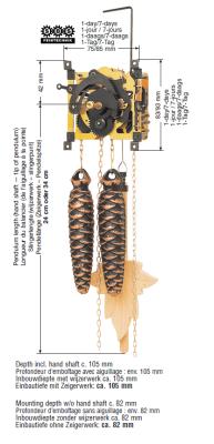Coucou Clockwork SBS 25, 7 jour, pendule en bois 34 cm, poids en pomme de pin, chaîne, ressort de gong