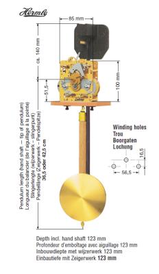 Movement FF, 14-days, pendulum 36,5 cm