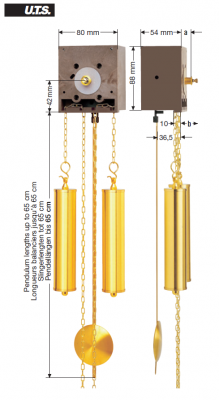 Quartz pendulum movement EP UTS, HSL 52mm