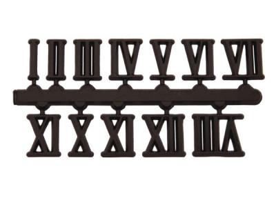 Number set 1-12, plastic, black, 10mm, Roman numerals, self-adhesive