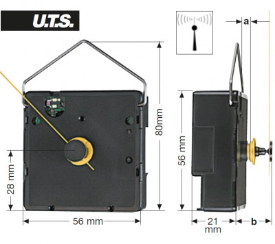 Radio controlled clock movement, GK UTS 700, length 19,5mm - extra strong version