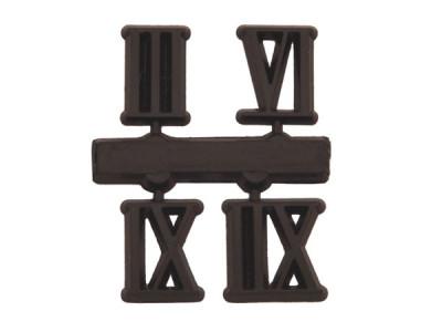 Zahlensatz 3-6-9-12 Kunststoff 15mm schwarz römische Zahlen