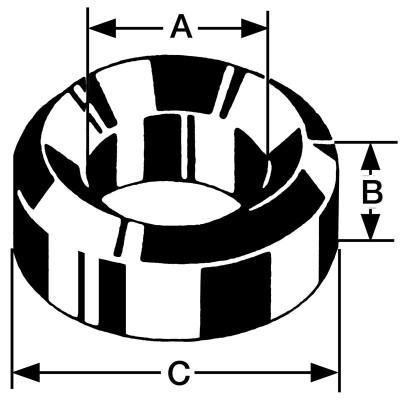 Bergeon-Einpresslager Messing B41, Bohrung Ø 0,95 Außen Ø 2,50 Höhe 1,20mm, Inhalt 10,00 Stück