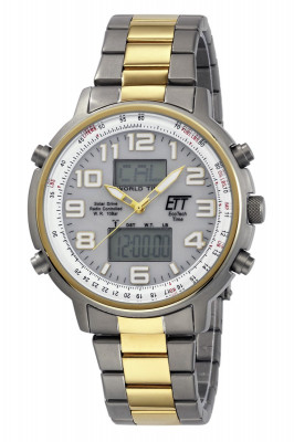 Exklusivset - Armbanduhr Eco Tech Solar Funk World Timer bicolor - EGS-11345-23M