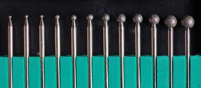 Goupille de polissage sphérique, revêtu avec stratifié de diamant, assortiment des 15 pièces