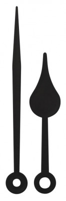 Zeigerpaar Birne schwarz Kunststoff Funkuhr Minuten-L. 79mm