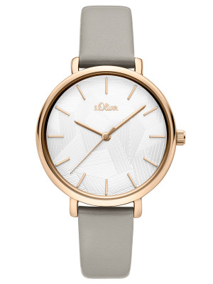 s.Oliver SO-3735-LQ Synthetic leather strap gray 14mm