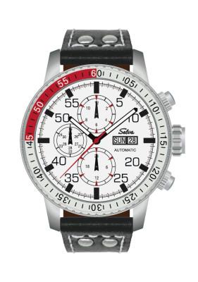 SELVA Montre-bracelet d'homme »Carlos« - cadran blanc - avec vintage-bracelet en cuir