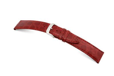Bracelet-montre en cuir Bahia 8mm bordeaux avec marque de crocodile