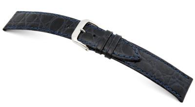 Lederband Bahia 8mm ozeanblau mit Krokodillederprägung