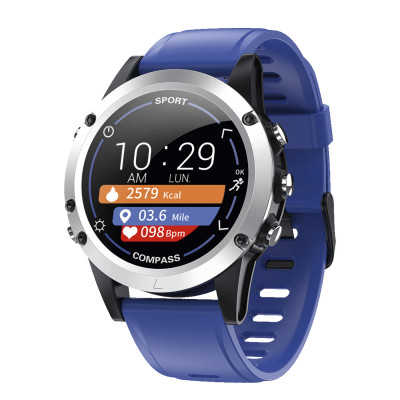 Fitness tracker with blue silicone strap