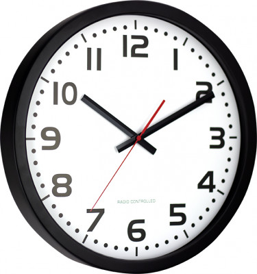 EUROTIME radio-controlled wall clock Ø 40cm, stainless steel