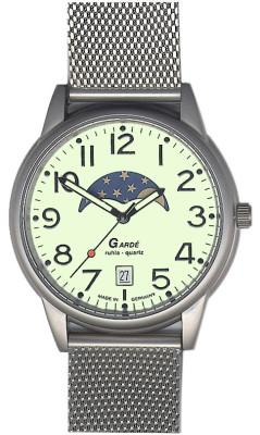 Uhren Manufaktur Ruhla - Mondphase-Uhr - Leuchtzifferblatt - Milaneiseband
