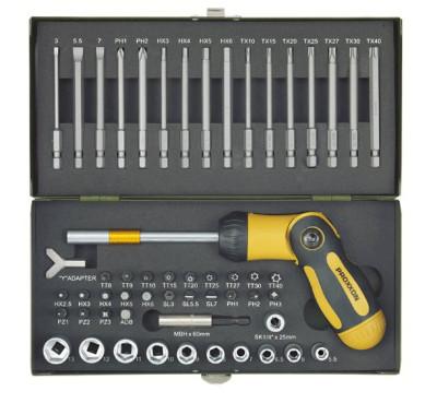 PROXXON Schraubersatz mit knickbarem Ratschen-Schraubendreher und Magnethalter, 54-teilig