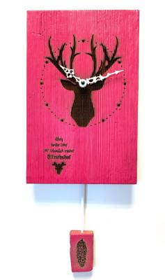 Reclaimed wood pendulum wall clock made in Germany Deer pink