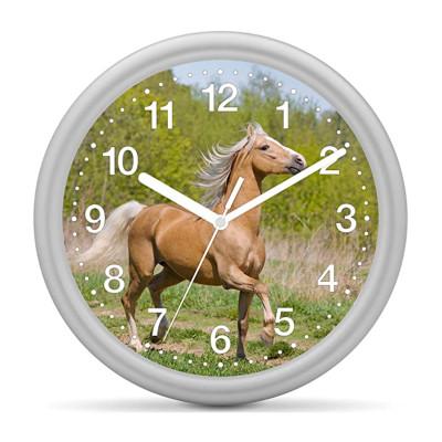 Kinderwanduhr Pferd - Pferd beige vor Grün