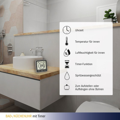 TFA Badezimmeruhr/ Küchenuhr mit Timer