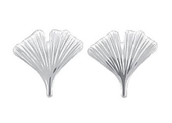 Ear studs silver 925/- ginkgo leaf