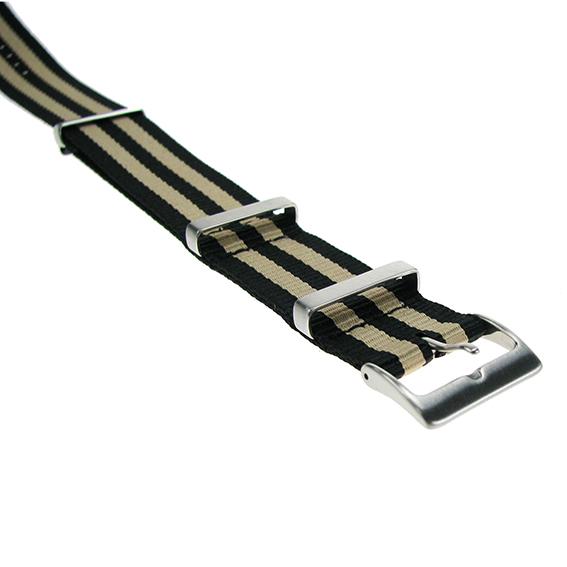 Bracelets en nylon striés  longitudinalement beige/noir 20 mm