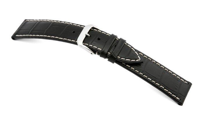 Lederband Saboga 20mm schwarz mit Alligatorprägung