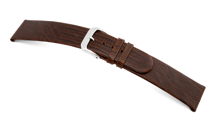 Lederband Santa Cruz 12mm mokka mit Teju-Eidechsenprägung