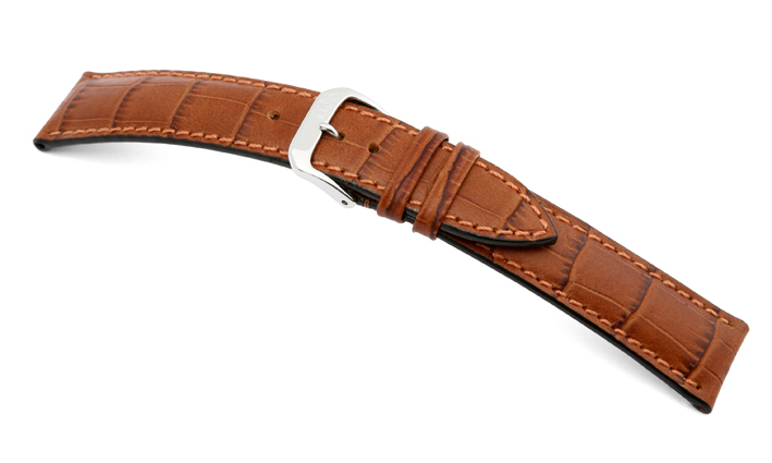 Lederband Jackson 22mm cognac mit Alligatorprägung