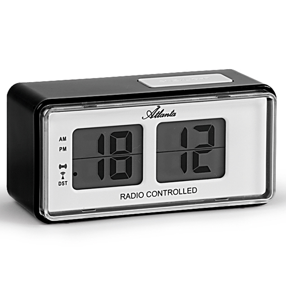 Atlanta 1881/7 black Alarm Clock radio controlled RETRO