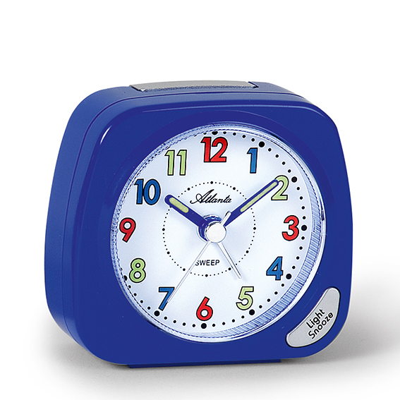 Atlanta 1936/5 blue Quartz Alarm Clock, sweeping second