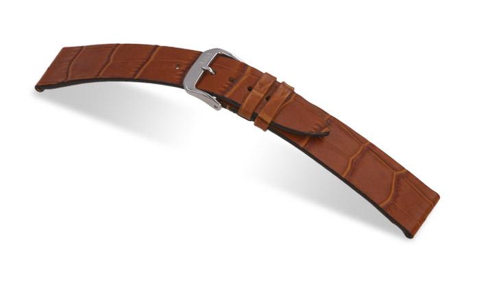 Lederband Charleston 12mm cognac mit Alligatorprägung