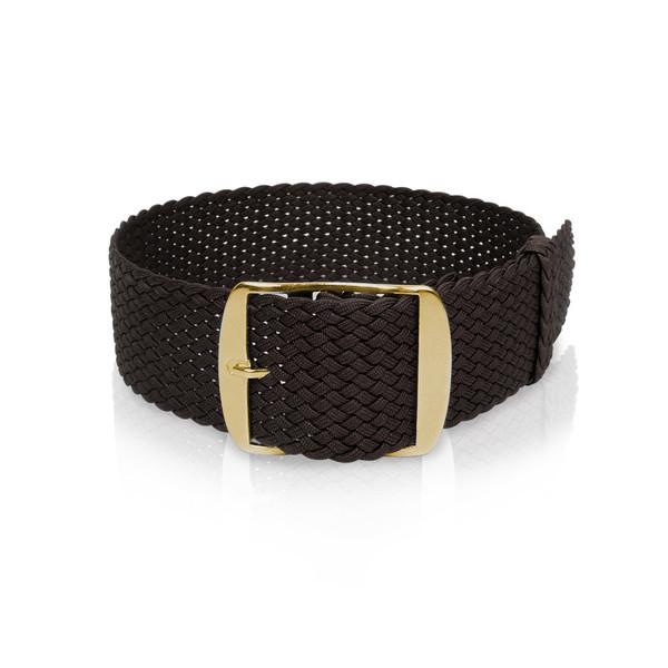 Bracelet-montre en perlon noir, 20mm, fermeture jaune