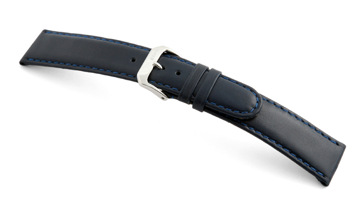Leather strap Phoenix 20mm ocean blue smooth