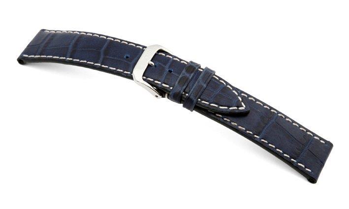 Lederband Saboga 14mm marineblau mit Alligatorprägung
