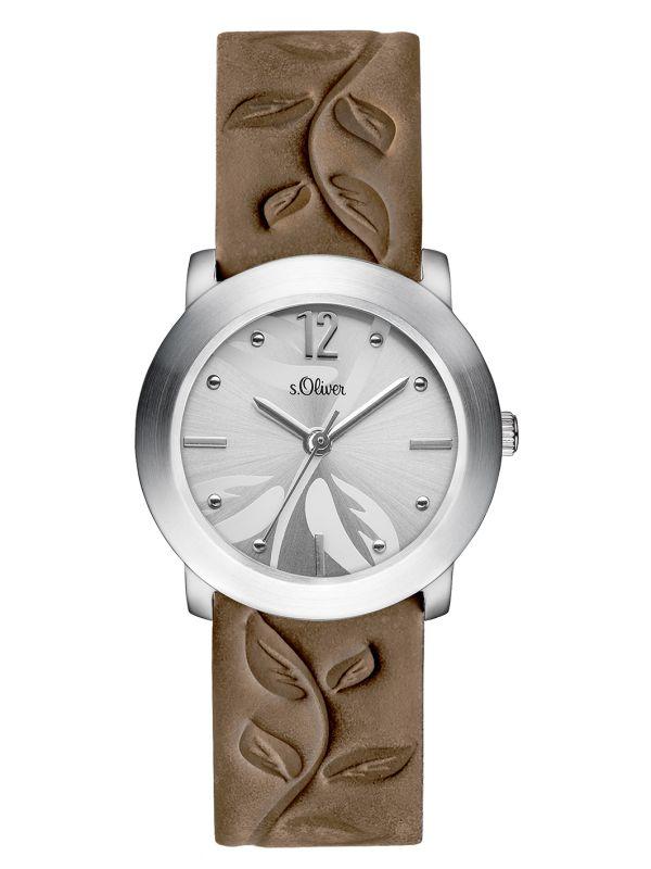 s.Oliver bracelet-montre en cuir véritable brun SO-3315-LQ