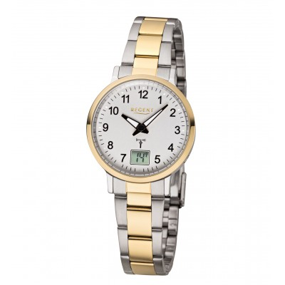REGENT Funk-Armbanduhr, Stahl bicolor, Damen