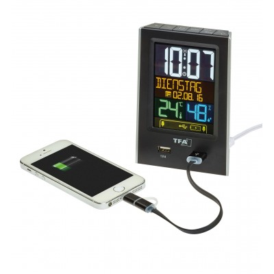 TFA Charge-It Funkwecker mit USB-Ladefunktion