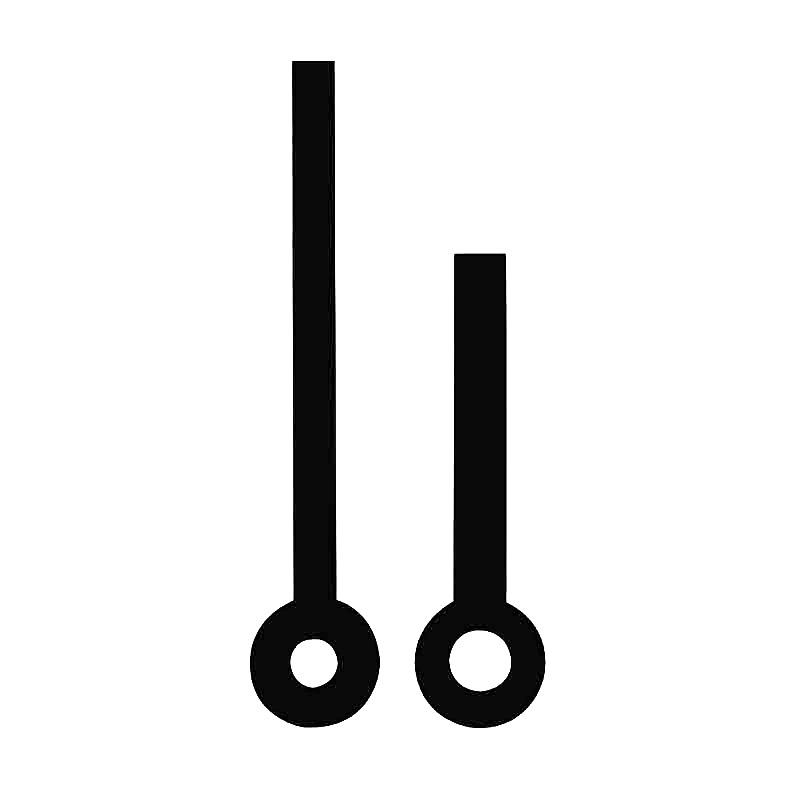 Zeigerpaar für Quarzuhren Balken schwarz poliert Minutenzeiger-L:31mm