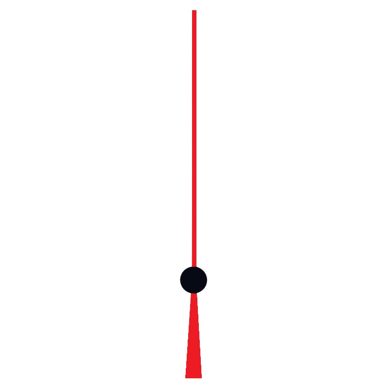 Aiguille des secondes, 100 mm, rouge / noir