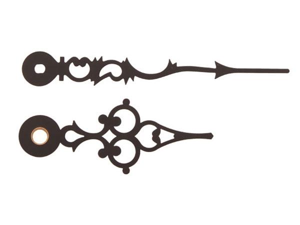 Paire de aiguilles Euronorme Antique noir aiguille des minutes L: 69/47mm