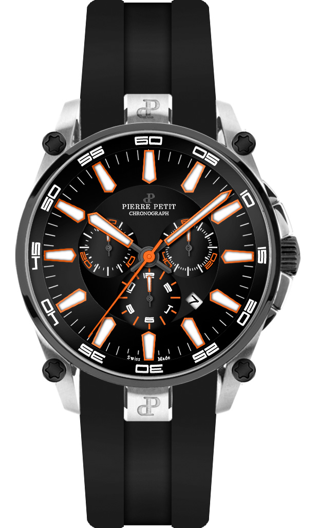 Chronographe Pierre Petit Le Mans noir / blanc / orange Swiss Made
